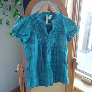 🌻 Turquoise and navy plaid blouse